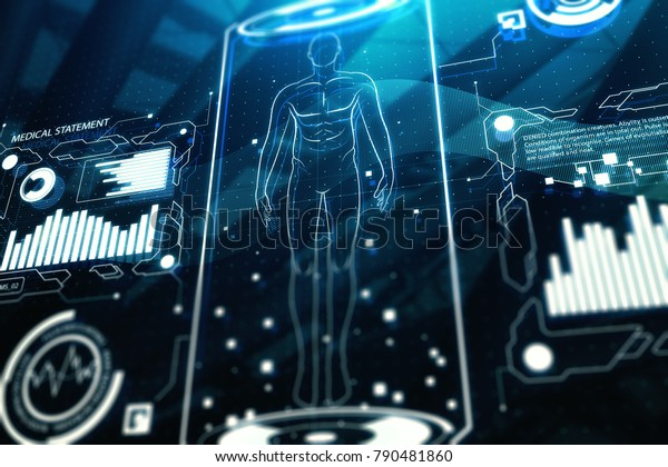 Creative medical interface texture. Medicine, future innovations and healthcare concept. 3D Rendering