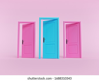 creative minimal style design. three open doors on pastel pink background. 3d rendering