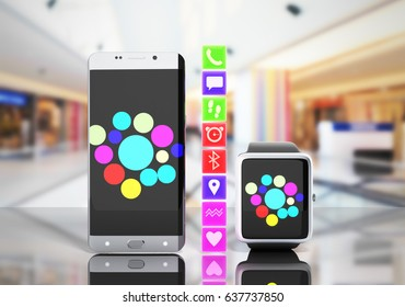 Creative mobile connectivity and business mobility wireless communication concept smart watch or clock and touchscreen smartphone with color interface shop background with reflection