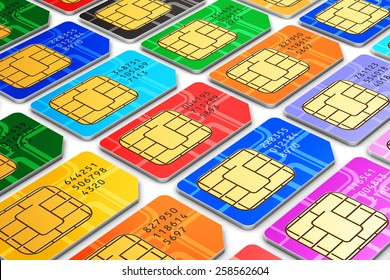 Creative mobile telecommunication, wireless technology and mobility business communication internet concept: group of color SIM cards for mobile phone or smartphone isolated on white background