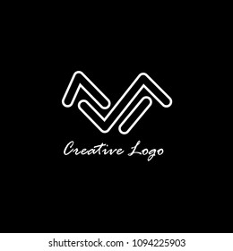 Creative modern elegant trendy unique artistic black and white color MS SM M S initial based letter icon logo.