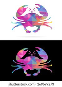 Creative Mosaic Polygon Style Colorful Isolated Sea Crab on White and Black Backgrounds