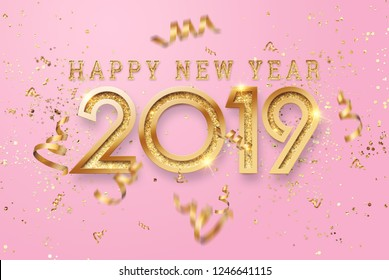 Creative, new design inscription 2019 gold numbers on a pink background. Happy New Year. Merry Christmas.