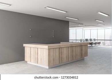 Creative office lobby with reception desk. 3D Rendering