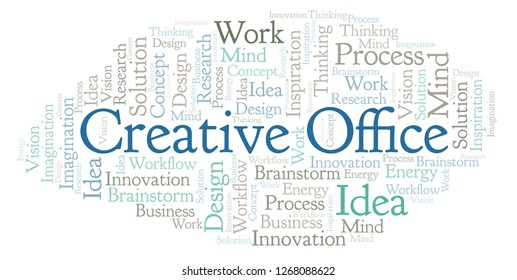Creative Office word cloud, made with text only.