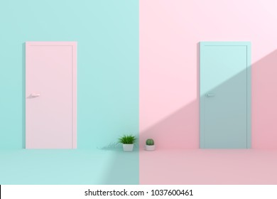 Creative pastel door on blue and pink wall. 3d render
