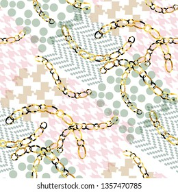 Creative pattern modern design. Mixed background with golden chains, houndstooth elements and watercolor effect. Textile print for bed linen, jacket, package design, fabric and fashion concepts.