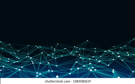 Creative polygonal backdrop with connections. AI and technology concept. 3D Rendering