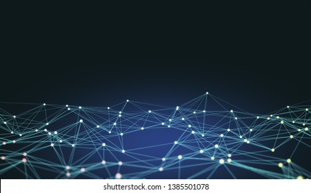 Creative polygonal background with connections. AI and technology concept. 3D Rendering
