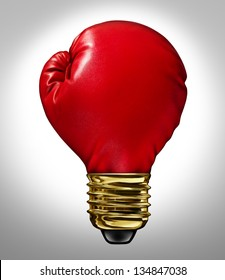Creative power and Powerful ideas business innovation concept with a red glowing boxing glove shaped as a light bulb representing strong innovative new thinking and competitive imagination.