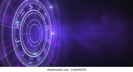 Creative purple zodiac wheel wallpaper. Cyberspace concept. 3D Rendering