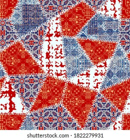 Creative red navy white blue colored  fabrics, floral, flower, damask patterns mixed  art seamless with different shapes and textures. Collage.
