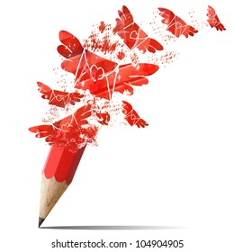 Creative red pencil spraying envelopes fly outdoor.