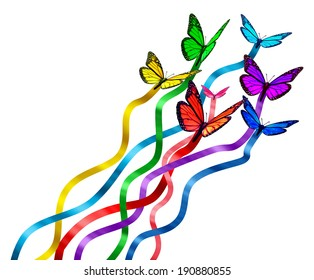 Creative release concept as a group of butterflies as colors of the rainbow with silk ribbons attached creating new marketing promotions spreading the message as a symbol of communication diversity.