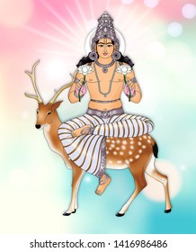 Creative representation of Lord Moon, called Chandra in Vedic astrology, against a glowing, abstract background. He is also one of the nine planets (Navagrahas) mentioned in Hindu texts.