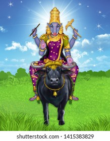 Creative representation of varahi amman against a glowing, abstract background. She is one of the Matrikas, a group of seven Mother Goddesses which are present in the form of 'Shakti', or power.