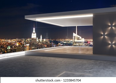 Creative rooftop with night New York city view and abstract glass see through interior. 3D Rendering
