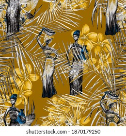 Creative seamless pattern with African women on tropical background. Colorful texture for any kind of a design. Contemporary art.