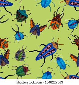 Creative seamless pattern with colorful hand drawn beetles.