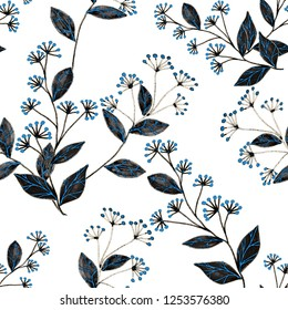 Creative seamless pattern with flowers and bees. Hand drawn texture. Surface design.