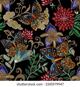 Creative seamless pattern with hand drawn fantasy flowers and butterflies. Trendy fashion print.