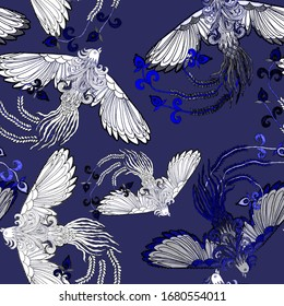 Creative seamless pattern with hand drawn chinese art elements: phoenix, lantern, fan and flowers. Trendy print. Fantasy chinese phoenix, great design for any purposes. Asian culture. Abstract art.