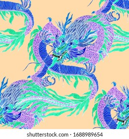 Creative seamless pattern with hand drawn chinese art elements: dragon, lantern, fan and flowers. Trendy print. Fantasy chinese dragon, great design for any purposes. Asian culture. Abstract art.