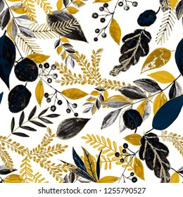 Creative seamless pattern with leaves.