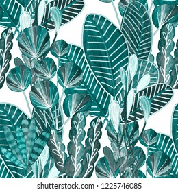 Creative seamless pattern with tropical leaves. Trendy hand draw texture.