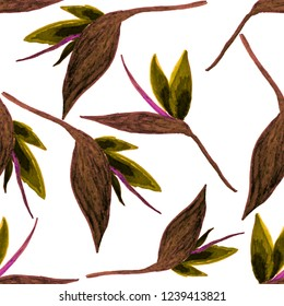 Creative seamless pattern with tropical leaves and flowers. Trendy texture with hand drawn exotic plants.