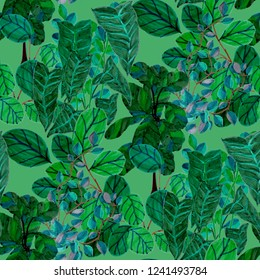 Creative seamless pattern with tropical leaves. Trendy hand drawn texture.