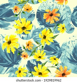 Creative seamless watercolor pattern of plants, Herbs, flowers, poppy, lily, tulip. calendula, chamomile flowers watercolor, stylish pattern. Abstract paint splash. Watercolor background