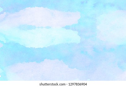 Creative smooth light sky blue watercolor background. Turquoise shades color wet effect hand drawn canvas. Aquarelle paper textured illustration for design, vintage card, retro templates.