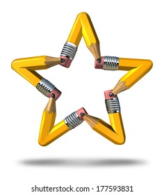 Creative star symbol as a group of yellow pencils coming together as a team to form an icon representing innovation talent stars in business success and education achievement on white background.
