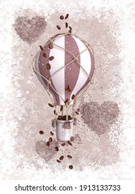Creative surreal background, a cup of coffee flies in a hot air balloon, hearts lined with grains, pastel brown tones, 3d rendering