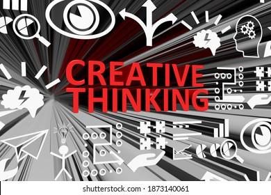 CREATIVE THINKING concept blurred background 3d render illustration
