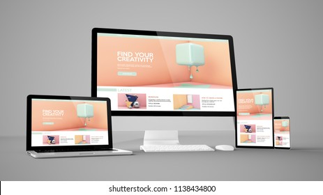 creative tutorials website isolated gadget devices 3d rendering