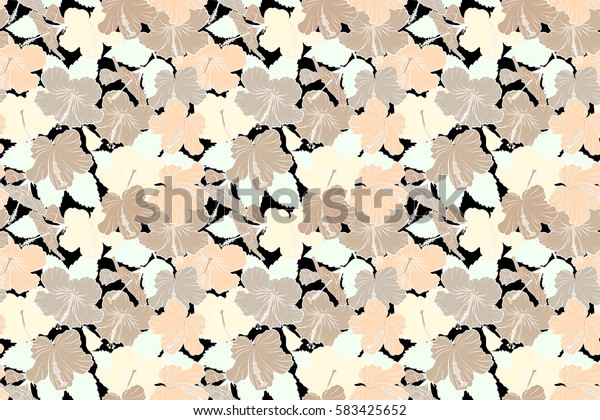 Creative universal floral pattern in beige colors. Hand Drawn tropical style texture. Ideal for web, card, poster, fabric or textile. Raster seamless pattern of hibiscus flowers on a black.