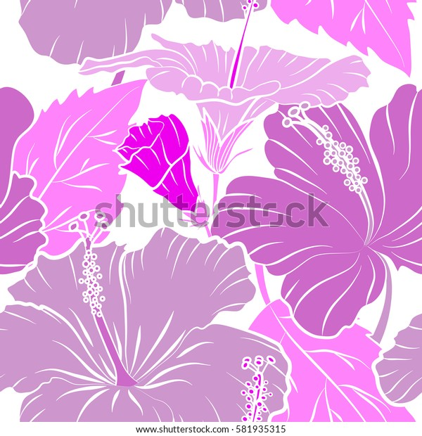 Creative universal floral pattern in pink and violet colors. Hand Drawn tropical style texture. Ideal for web, card, poster, fabric or textile. Seamless pattern of hibiscus flowers on a white.