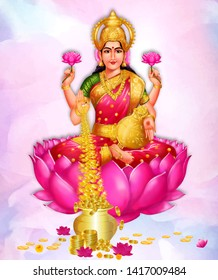 Creative vector abstract background of Goddess Lakshmi Amman, against a glowing, abstract red background.