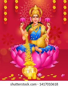 Creative vector abstract background of Goddess Lakshmi Amman, The goddess of wealth against a glowing, abstract background.