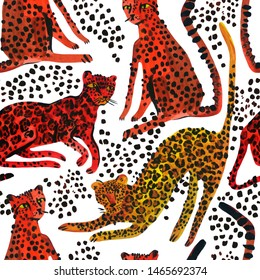Creative watercolor seamless pattern with leopards, jaguar and cheetah. Exotic wild animal background in trendy style. Hand painted animal illustration