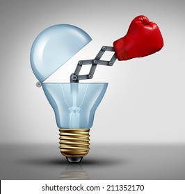Creative weapon symbol and game changer business concept for the power of ideas and fighting to pitch powerful innovation as a  boxing glove emerging out of an open light bulb icon of creativity