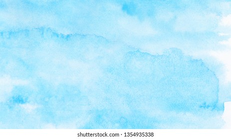 Creative wet ink effect turquoise color watercolor background. Light sky blue shades frame illustration. Grunge aquarelle painted paper textured canvas for vintage design, invitation card, template