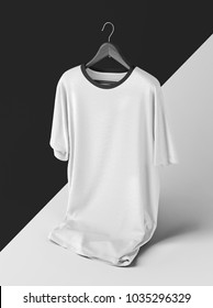 Creative white t-shirt Mockup with hanger on black and white background . 3D rendering