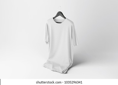 Creative white t-shirt Mockup with hanger on white background. 3D rendering