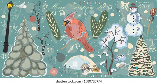 Creative Winter Collection. Set One. Snowman, Spruce Tree, Decorated Tree, trees in snow, Red Bird of Cardinal, Street Lights, snowdrift, bunny in snow, owl, ornaments, etc. Hand Drawn with paintbrush