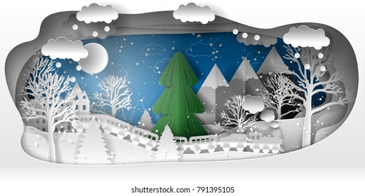 Creative winter forest with Christmas trees, snow, train. Paper art craft style. New year 2019