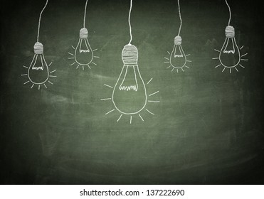 creativity concept for good ideas on blackboard
