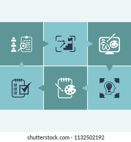 Creativity icon set and sketchpad with illustration, creative idea and project briefing. Peak related creativity icon  for web UI logo design.